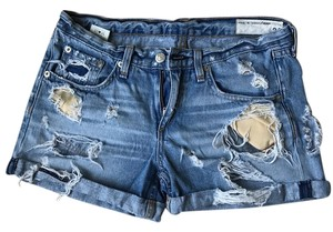 Rag & Bone Cuffed Shorts Blue distressed denim