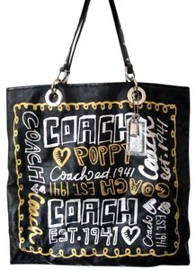 Coach Poppy Glam Tote in Black/gold/silver