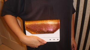 MILLY Leather Studded White, Iridescent Clutch
