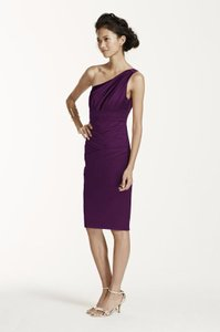 David's Bridal Plum Short One Shoulder Stretch Satin Dress Dress