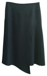 Philippe Adec Pleated Pinstripe Skirt Black
