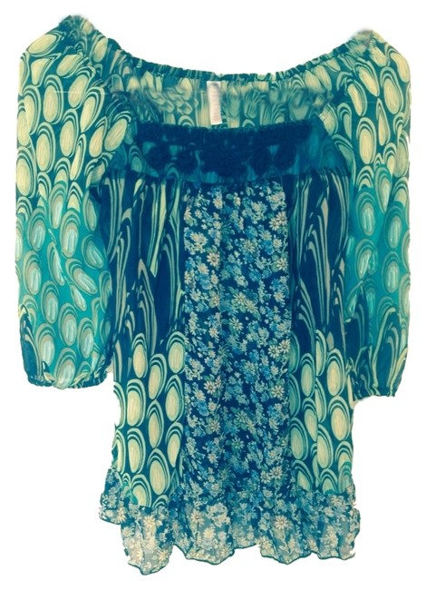 Other Bohemian Sheer Boho Floral Top Green Black