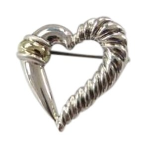 David Yurman Cable Classics SS/14k Yellow Gold Heart Brooch