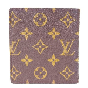 Louis Vuitton Bifold Wallet Purse Monogram Leather Brown Spain Mens