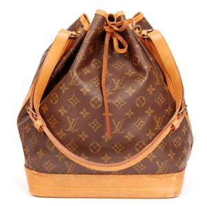 Louis Vuitton Noe Monogram Canvas Leather Tote in Browns