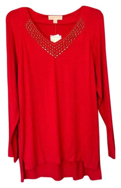 Item - Red Embellished Tunic Size 12 (L)