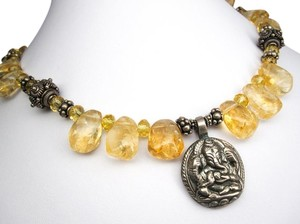 Jewelry OD Citrine Necklace, Citrine Statement Necklace, OOAK, Buddhist Necklace, Thai Hilltribe Necklace, Tribal Necklace