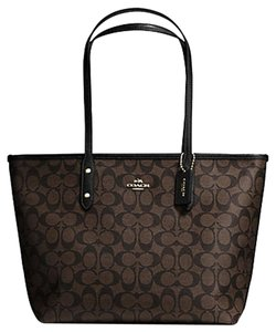 Coach Next Day Shipping Tote in Brown Black