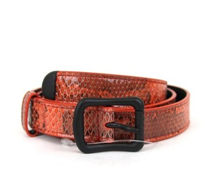 Bottega Veneta NEW Authentic Skinny Python Belt Red/Orange 80/32 272819 7501