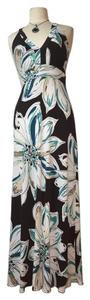 Black, white, blue multi Maxi Dress by En Focus Studio