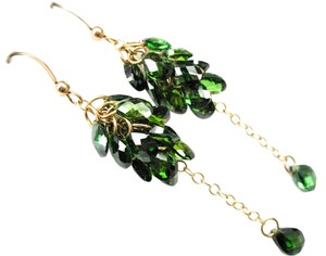 Jewelry OD Green Earrings, Green CZ Cluster Earrings, CZ Dangle Earrings, Emerald Green CZ Drop Earrings, 14K Gold Filled, Cascade Earrings