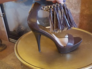 Michael Kors Leather Chain Monogram chocolate Brown Gold Platforms