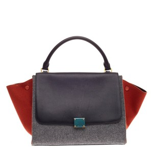 Cline Celine Leather Felt Tote in Gray