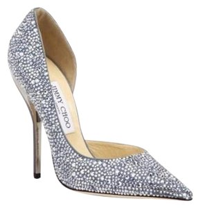 Jimmy Choo Swarovski Stiletto Silver Pumps