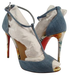 Christian Louboutin T Strap Open Toe Stiletto Hawaii Blue Sandals