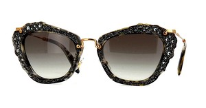 Miu Miu MU 04QS DH0A7 (color) - BLACK and GRAY - MINI CRYSTALS - FREE 3 DAY SHIPPING
