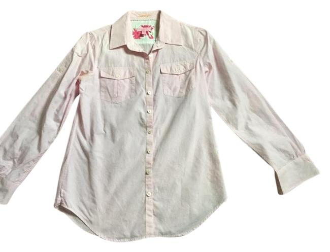 Item - Pink Palm White Long Sleeve Cotton Shirt Button-down Top Size 6 (S)