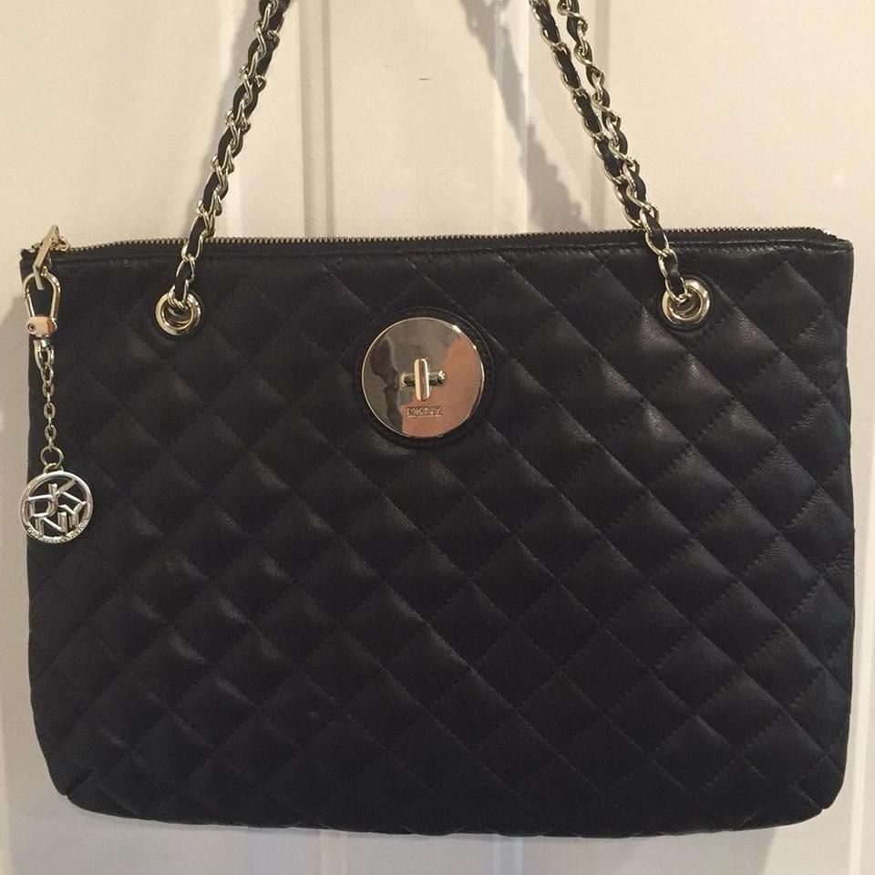 DKNY Soft Quilted Nappa Zip Black Leather Shoulder Bag - Tradesy : leather quilted purse - Adamdwight.com