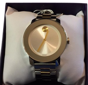 Movado Movado BOLD Silver Museum Dial Watch With Gold Accents, 36mm