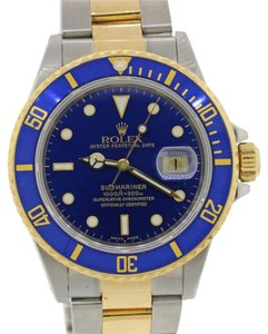 Rolex Rolex Submariner 16803 Steel 18k Gold Two Tone Blue Diver 40mm Watch