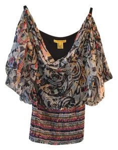 Catherine Malandrino Top Navy/Gray/Dark Red/Yellow