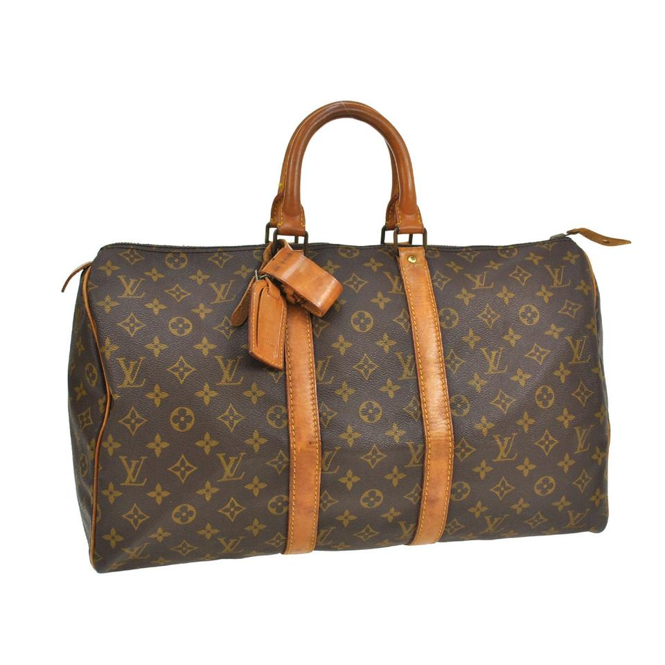 louis vuitton 45 jumbo luggage carryall monogram canvas leather weekend travel bag tradesy. Black Bedroom Furniture Sets. Home Design Ideas