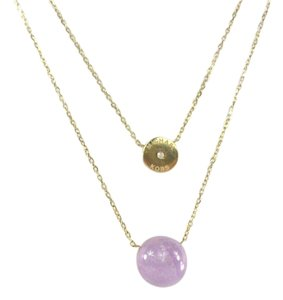 Michael Kors Michael Kors MKJ5475 Amethyst Pendant Gold Double Chain Necklace