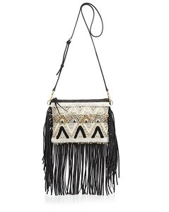 Rebecca Minkoff Fringe Leather Embroidered Cross Body Bag
