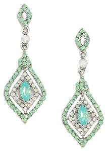 Other FASHIONIST White Opal Statement Rhinestone Crystal Opal Earrings