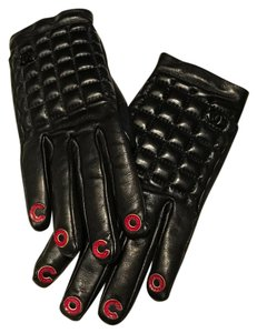 Chanel RARE CHANEL Black Quilted Leather COCO Gloves Cashmere CC