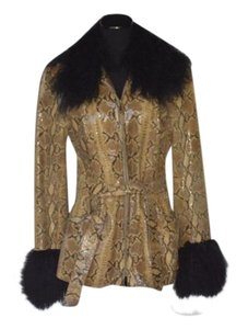 Oscar leopold Leather Sheepskin Snake skin Leather Jacket