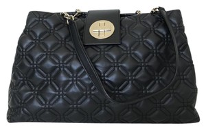 Kate Spade Quilted Leather Double Straps Tote in Black