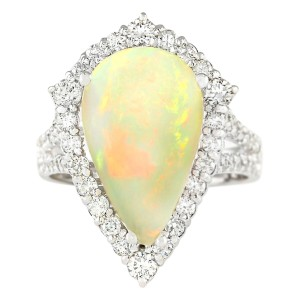 Fashion Strada Vintage 6.04 CTW Natural Opal And Diamond Ring In 14k White Gold