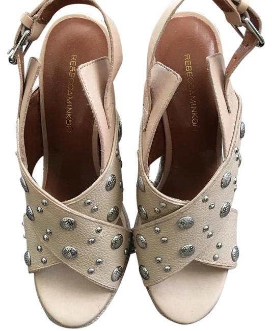 Item - Tan Silver Studded Leather Wedges Size US 8 Regular (M, B)
