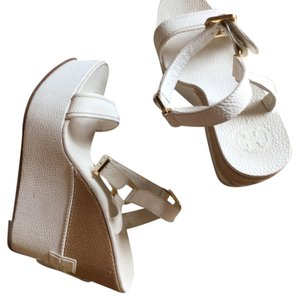 Tory Burch Tan and White Wedges