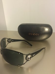 Gucci Gucci Black Frame with Rhinestone Logo Sunglasses