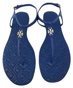Tory Burch Marion Quilted Gold Miller Cobalt Blue Sandals