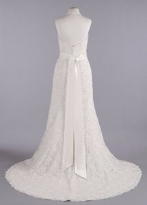 David's Bridal All Over Beaded Lace Trumpet Halter Gown With Sash Wedding Dress