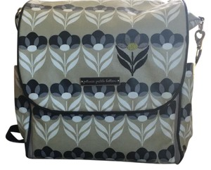 Petunia Pickle Bottom Grey, Black, White Tan Design Diaper Bag