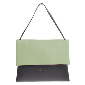 Cline Celine Leather Tote in Mint Green and Dark Gray