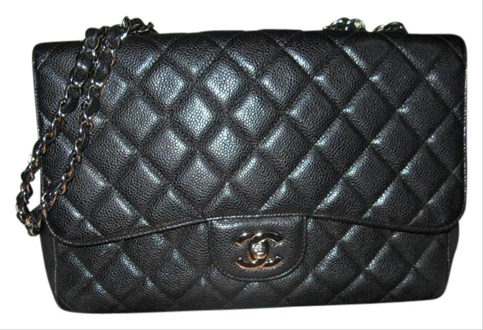 2312064ce146a4 Chanel 2.55 Reissue Classic Caviar Single Flap Jumbo Black Leather Shoulder  Bag