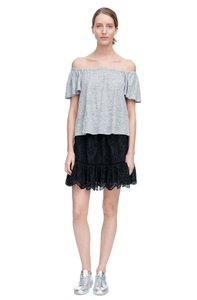 Rebecca Taylor Off The Shoulder Linen T Shirt Grey