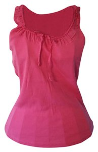 Ann Taylor Sleeveless Tie Cotton Top Pink