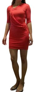 Helmut Lang short dress Red Modal Jersey Drape Draped on Tradesy