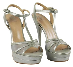 Versace Leather Platform Silver Platforms