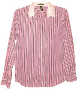Ralph Lauren Striped Cotton Buttoned Button Down Shirt Pink Black White