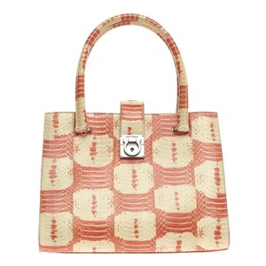Salvatore Ferragamo Tote in Orange and Cream