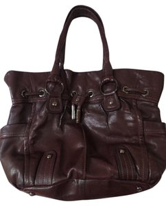 B. Makowsky B Leather Handbag Magnetic Closure Satchel in Brown