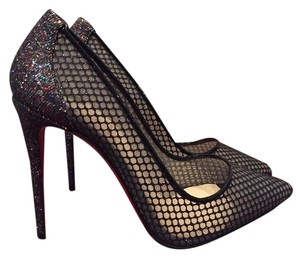 Christian Louboutin Lace Glitter Stiletto Mesh Follies black Pumps
