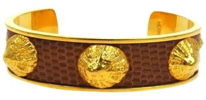 Hermès HERMES LIZARD BANGLE BROWN GOLD